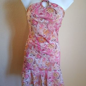 Finesse Halter Paisley & Floral Dress with Tie
